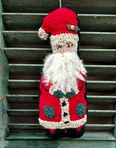Primitive Folk Art Rug Hooked Wool Santa Door Hanger Handmade Christmas prim Primitive Pillows, Primitive Folk Art, Handmade Christmas, Christmas Crafts, Hand Hooked Rugs, Prim Decor, Rug Hooking, Door Hangers, Christmas Stockings
