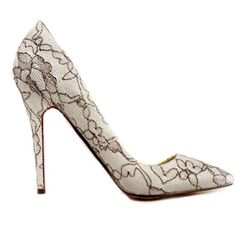 Christian Louboutin White Patent Leather Pumps Embroideried