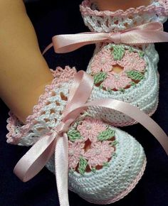 Pink Flowers Ribbons Crochet Newborn Baby Girl Booties 0-3 Months