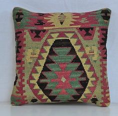 "16"" Wool Kilim Kelim Rug Decorative Throw Pillow Case Cushion Cover 5356"