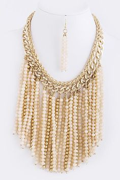 BEAD FRINGE NECKLACE Peach,Cream,Gold