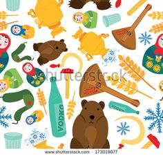 Classic Russian Things Seamless Background - stock vector
