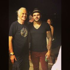 Jimmy Page on the beach with the Kings of Leon May 28, 2014 in Dubai @ The Atlantis