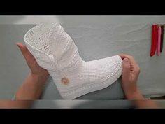 Crochet Slipper Boots, Crochet Slippers, Brooches Handmade, Dress Shoes, Knitting, Sneakers, Youtube, Tutorials, Craft