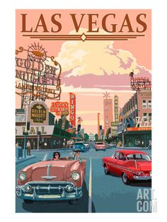 retro poster design Las Vegas Old Strip Scene: Retro Travel Poster Wall Art, Canvas Prints, Framed Prints, Wall Peels Posters Paris, Posters Decor, Posters For Room, Bedroom Posters, Wall Art Posters, 80s Posters, Modern Posters, Poster Art, Kunst Poster