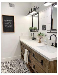 Bathroom Renos, Bathroom Renovations, Home Remodeling, Shiplap Bathroom, Black Cabinets Bathroom, Remodel Bathroom, Redo Bathroom, Budget Bathroom, Black Bathroom Faucets
