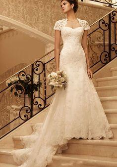 Lace Keyhole Empire Chapel Train Sheath Wedding Dress