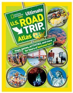National Geographic Kids Ultimate U.S. Road Trip Atlas includes easy-to-read, simple road maps of each state and a map of the USA. State symbols, cool things to do, boredom busters, fun facts, wacky roadside attractions, and games provide engaging information with stunning photographs that will keep kids engaged for hours.  http://bratsonboard.com/products/national-geographic-kids-ultimate-u-s-road-trip-atlas-paperback-book  #RoadTripActivities #RoadTripHacks #USARoadTrip