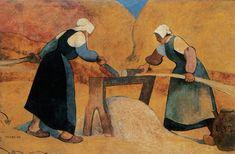 Meyer de Haan Mujeres bretonas agramando lino: