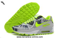 Grey Green Black Mens Shoes Nike Air Max 90 2013 Differentiation Free Running Shoes