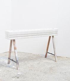 EDGE to EDGE plaster wood metal paint. Metallic Paint, Geometric Art, Plaster, Wood And Metal, Painting On Wood, Art Forms, Minimalism, Sculpture, Table