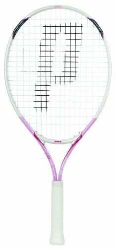 "Prince AirO Pink Team 25 Strung Junior Tennis Racquet (0 (4)) by Prince. Save 3 Off!. $29.13. AirO large grommet technology at 3 & 9 o'clock for increased racquet speed combined with Triple Force stability for more comfort and control in a FusionLite Ti I-Beam construction. Head Size: 110 in2. Weight: 255 g/8.9 oz unstrung. Length: 25.0"". Composition: Fusionlite Ti I-Beam. Grip: Technigrip."