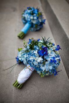 Blue hydrangea bouquets from Anne + Jess' DIY garden themed wedding in blue & green in Washington, DC. Images by Photo Lady Love.