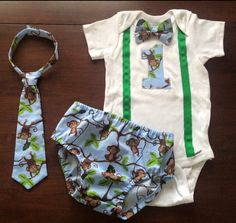 """Custom ordered boys first birthday smash cake Jungle Monkeys set. Decorated onesie, necktie and diaper cover. Matching personalized party hats are available too! Check out my Facebook page """"Southern Sweet Boutique"""""""