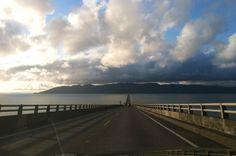 Crossing over floating bridge between Oregon & Washington state