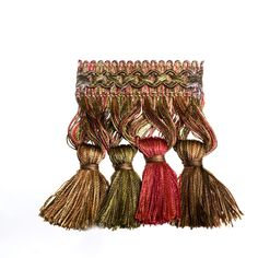 Brown Green Red Burgundy color pattern Tassel or Onion or Ball Fringe type Upholstery Fabric called Vineyard by KOVI Fabrics Upholstery Trim, Upholstery Fabrics, Burgundy Color, Toss Pillows, Window Treatments, Color Patterns, Fabric Design, Bed Canopies, Tassels