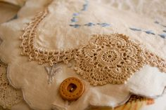 Blue Lacy Floral Clutch Purse with Doilies and by nomadictara