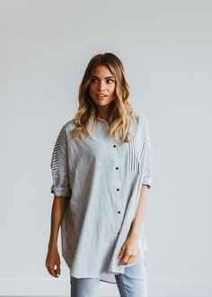 Oversized Striped Button Up