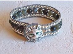 Bohemian Jewelry Cat Bracelet with leather wrapped beads