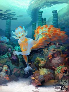 Nudibranch Mollusk Mermaid by SHADE-ShyPervert on DeviantArt Fantasy Character Design, Character Design Inspiration, Character Art, Mermaid Drawings, Mermaid Art, Creature Concept Art, Creature Design, Creature Drawings, Mermaids And Mermen