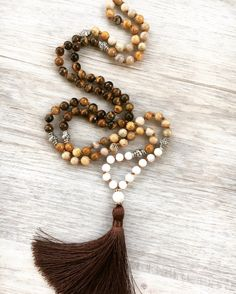 Chai Spice Mala Mother of Pearl Flower Stone & by SaltAndMoon