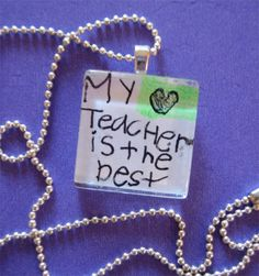 personalized teacher's gift ... pendant necklace from your kid's art ... by charm school. $10.00, via Etsy.