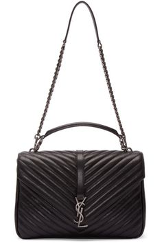 Saint Laurent Black Quilted Large College Shoulder Bag