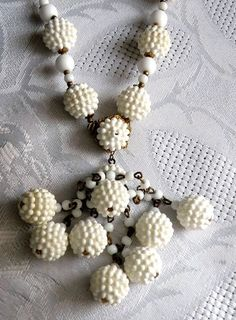 Vintage Designer Miriam Haskell Necklace Unique Pop Corn Beads White | eBay