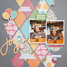 Scrapbook Argyll layout achieved with rhombus shaped scraps sewn across both ways Baby Girl Scrapbook, Baby Scrapbook Pages, Kids Scrapbook, Scrapbook Paper Crafts, Scrapbook Cards, Couple Scrapbook, Birthday Scrapbook Layouts, Scrapbook Layout Sketches, Scrapbook Designs