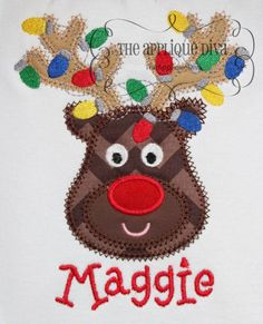 Christmas Reindeer with Lights Digital Embroidery Design Machine Applique