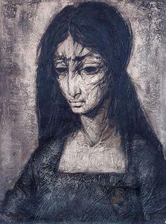 Maciej Lachur - Portret kobiety z cyklu Ghetto olej, płótno, 61 × 45, 5 cm sygn. l. d.: M.LACHUR