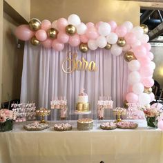 Baby Pink White and Gold Silver Balloon Garland, Balloon Garland Kit, Bridal Shower, Anniversar Baby Shower Table Set Up, Baby Girl Shower Themes, Girl Baby Shower Decorations, Baby Shower Princess, Baby Shower For Girls, Pink Princess Party, Princess Dresses, Baptism Party Decorations, Birthday Table Decorations