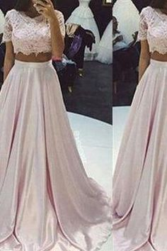 Long A-line Lace Two Pieces Taffeta Prom Dresses 2017