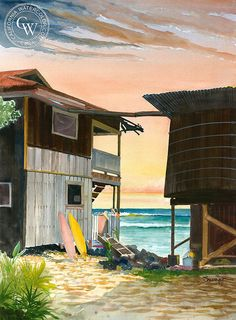 Kona, Hawaii, California art by Steve Santmyer. HD giclee art prints for sale at CaliforniaWatercolor.com - original California paintings, & premium giclee prints for sale