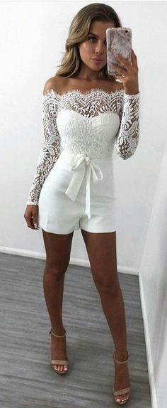 36 New Ideas Party Dress Outfit Ideas White Lace Summer Fashion Outfits, Night Outfits, Fall Outfits, Cute Outfits, Outfit Night, Outfit Summer, Dress Night, Fashion Dresses, Summer Shorts