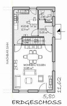 Schmaler Grundriss mit gerader Treppe | Haus in 2019 | Schmales haus ...