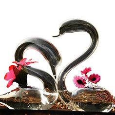 3 BEES® Pure Hand Blown Processed Swan Couple Crystle Glass Vase Filter Centerpiece Flower Plant Pot Planter Container Terrarium Home Decoration(Set of 2)