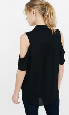 pintucked bib cold shoulder shirt