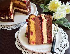 Tort Fantezie cu ciocolată și zmeură - Rețete pentru toate gusturile Creme Caramel, Food Cakes, Yummy Cakes, Vanilla Cake, Cake Recipes, Cheesecake, Deserts, Ice Cream, Homemade