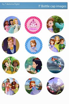 Free Bottle Cap Images: Sofia the first Free digital bottle cap images