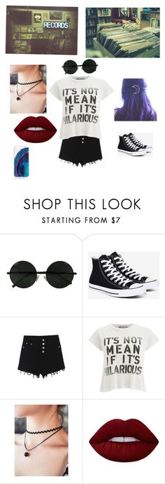 """At a record store"" by grunge-girl27 ❤ liked on Polyvore featuring Converse, WithChic, Wildfox and Lime Crime"