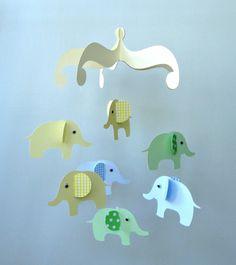 Elephant Baby Mobile/ Hanging Nursery Mobile by goshandgolly, $33.00