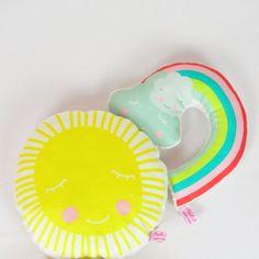 mini pillow sun and rainbow rattle by PinkNounou