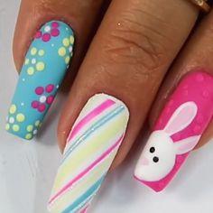 Easter Nail Designs, Gel Nail Art Designs, Easter Nail Art, Cute Nail Designs, Shellac Nail Art, Pink Acrylic Nails, Spring Nail Art, Spring Nails, Unicorn Nails Designs