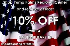 Full list of military discounts offered in Yuma, AZ.
