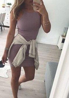 Purple Condole Belt Sexy Round Neck Sleeveless Mini Dress