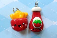 Kawaii Best Friends Charms Ketchup and Fries Polymer Clay Charm. $9.50, via Etsy.