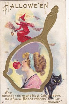 HALLOWEEN , Woman biteing apple , Black Cat , Red Witch , 00-10s #Halloween