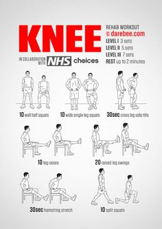 - Knee Rehab Workout in 3 level, happy workout! Knee Rehab Workout in 3 level, happy workout! Knee Strengthening Exercises, Chair Exercises, How To Strengthen Knees, Bad Knees, Excercise, Back Pain, Pain Relief, Health Benefits, Pilates