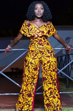 Wide leg African print Ankara jumpsuit dress ~ African fashion, Ankara, kitenge, Kente, African prints, Braids, Asoebi, Gele, Nigerian wedding, Ghanaian fashion, African wedding ~DKK